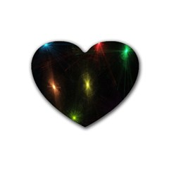 Star Lights Abstract Colourful Star Light Background Heart Coaster (4 Pack)  by Simbadda