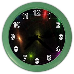 Star Lights Abstract Colourful Star Light Background Color Wall Clocks by Simbadda