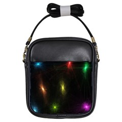 Star Lights Abstract Colourful Star Light Background Girls Sling Bags by Simbadda