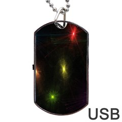 Star Lights Abstract Colourful Star Light Background Dog Tag Usb Flash (two Sides) by Simbadda