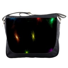 Star Lights Abstract Colourful Star Light Background Messenger Bags by Simbadda