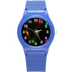 Star Lights Abstract Colourful Star Light Background Round Plastic Sport Watch (s) by Simbadda