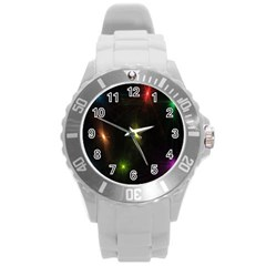 Star Lights Abstract Colourful Star Light Background Round Plastic Sport Watch (l)