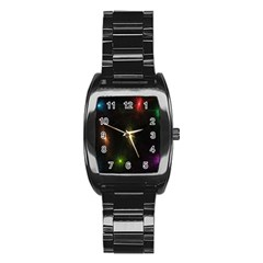 Star Lights Abstract Colourful Star Light Background Stainless Steel Barrel Watch by Simbadda