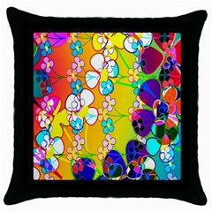 Abstract Flowers Design Throw Pillow Case (black) by Simbadda