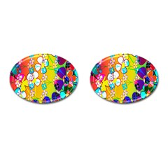 Abstract Flowers Design Cufflinks (oval)