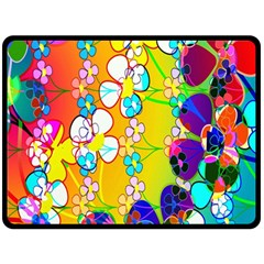 Abstract Flowers Design Fleece Blanket (large)  by Simbadda