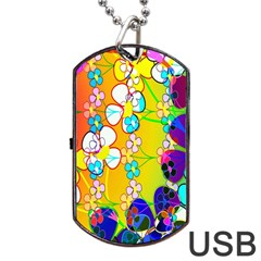 Abstract Flowers Design Dog Tag Usb Flash (two Sides) by Simbadda