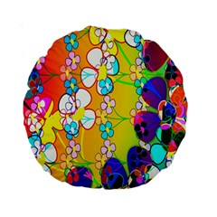 Abstract Flowers Design Standard 15  Premium Round Cushions by Simbadda
