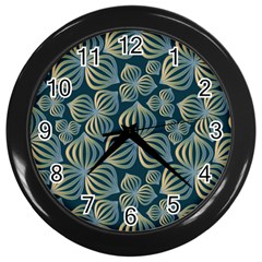 Gradient Flowers Abstract Background Wall Clocks (black) by Simbadda