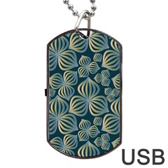 Gradient Flowers Abstract Background Dog Tag Usb Flash (two Sides) by Simbadda