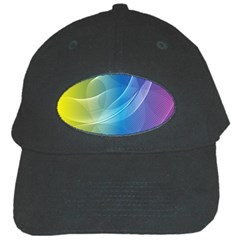 Colorful Guilloche Spiral Pattern Background Black Cap