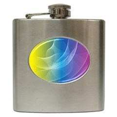 Colorful Guilloche Spiral Pattern Background Hip Flask (6 Oz) by Simbadda