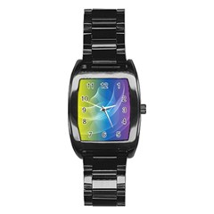 Colorful Guilloche Spiral Pattern Background Stainless Steel Barrel Watch by Simbadda