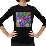 Wild Abstract Design Women s Long Sleeve Dark T-Shirts Front