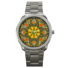 Seamless Orange Abstract Wallpaper Pattern Tile Background Sport Metal Watch by Simbadda