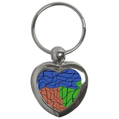 Abstract Art Mixed Colors Key Chains (heart)  by Simbadda