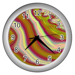 Artificial Colorful Lava Background Wall Clocks (silver)