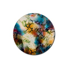Abstract Color Splash Background Colorful Wallpaper Rubber Round Coaster (4 Pack)
