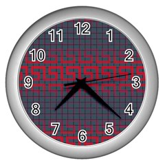 Abstract Tiling Pattern Background Wall Clocks (silver)  by Simbadda