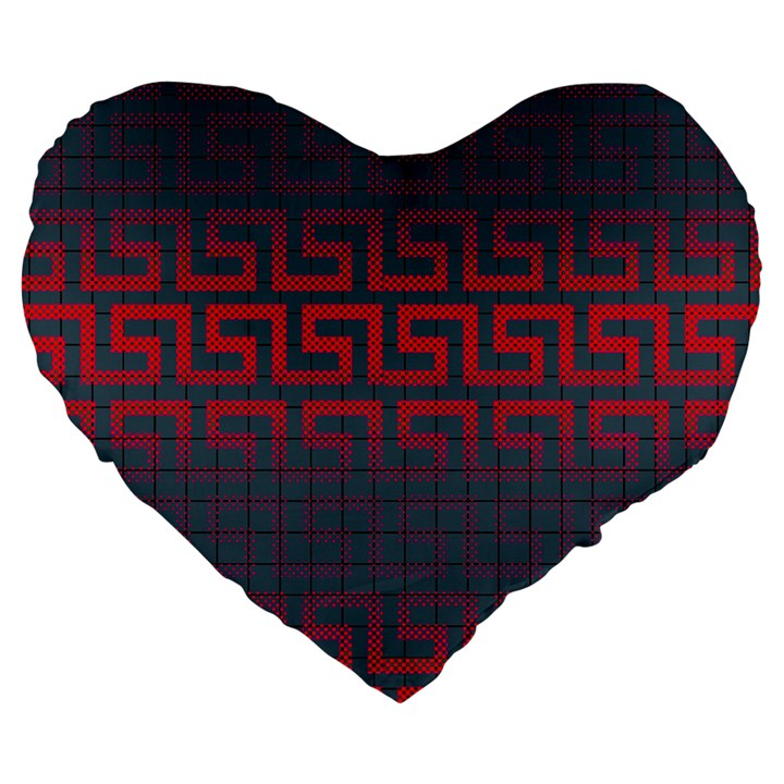 Abstract Tiling Pattern Background Large 19  Premium Flano Heart Shape Cushions