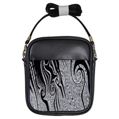 Abstract Swirling Pattern Background Wallpaper Girls Sling Bags by Simbadda