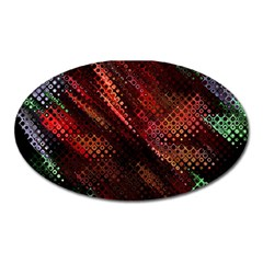 Abstract Green And Red Background Oval Magnet
