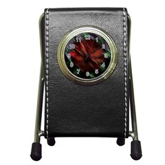Abstract Green And Red Background Pen Holder Desk Clocks