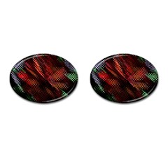 Abstract Green And Red Background Cufflinks (oval) by Simbadda