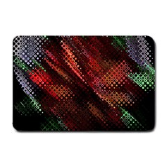 Abstract Green And Red Background Small Doormat  by Simbadda