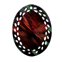 Abstract Green And Red Background Oval Filigree Ornament (two Sides) by Simbadda