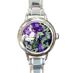 Background Abstract With Green And Purple Hues Round Italian Charm Watch by Simbadda