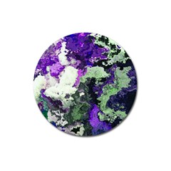 Background Abstract With Green And Purple Hues Magnet 3  (round) by Simbadda