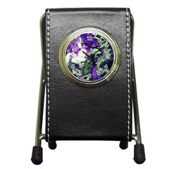 Background Abstract With Green And Purple Hues Pen Holder Desk Clocks
