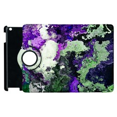 Background Abstract With Green And Purple Hues Apple Ipad 2 Flip 360 Case by Simbadda