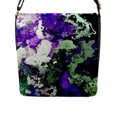 Background Abstract With Green And Purple Hues Flap Messenger Bag (l)  by Simbadda