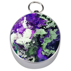 Background Abstract With Green And Purple Hues Silver Compasses by Simbadda