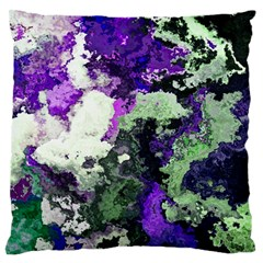 Background Abstract With Green And Purple Hues Large Flano Cushion Case (one Side) by Simbadda