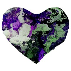Background Abstract With Green And Purple Hues Large 19  Premium Flano Heart Shape Cushions by Simbadda