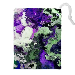 Background Abstract With Green And Purple Hues Drawstring Pouches (xxl) by Simbadda