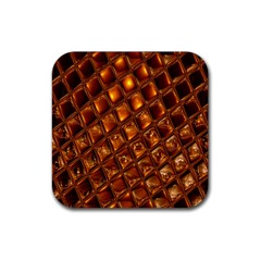Caramel Honeycomb An Abstract Image Rubber Coaster (square)