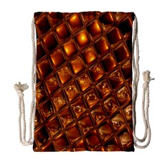 Caramel Honeycomb An Abstract Image Drawstring Bag (large) by Simbadda