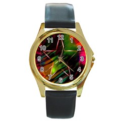 Colorful Background Star Round Gold Metal Watch