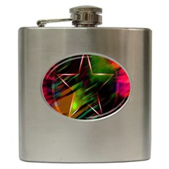 Colorful Background Star Hip Flask (6 Oz) by Simbadda