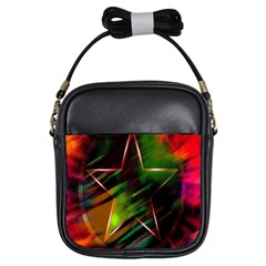 Colorful Background Star Girls Sling Bags