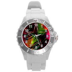 Colorful Background Star Round Plastic Sport Watch (l) by Simbadda