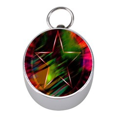 Colorful Background Star Mini Silver Compasses by Simbadda