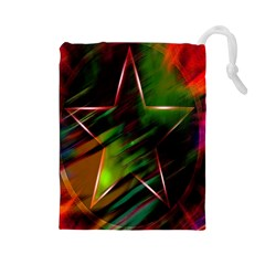 Colorful Background Star Drawstring Pouches (large)  by Simbadda