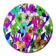 Floral Colorful Background Of Hand Drawn Flowers Round Mousepads