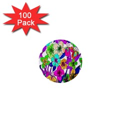 Floral Colorful Background Of Hand Drawn Flowers 1  Mini Buttons (100 Pack)